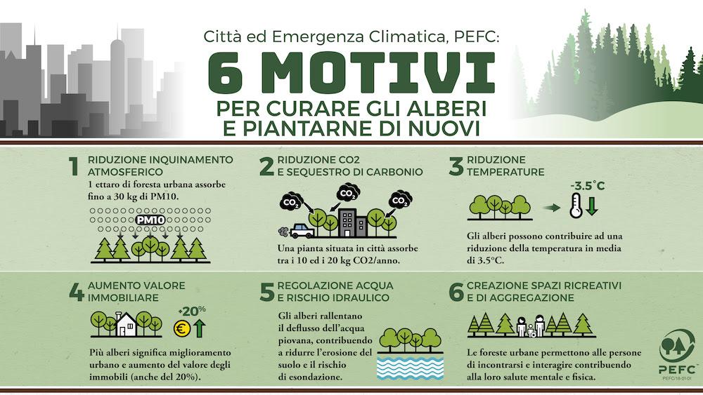 Città e cambiamenti climatici, PEFC: 6 motivi per curare gli alberi e piantarne di nuovi