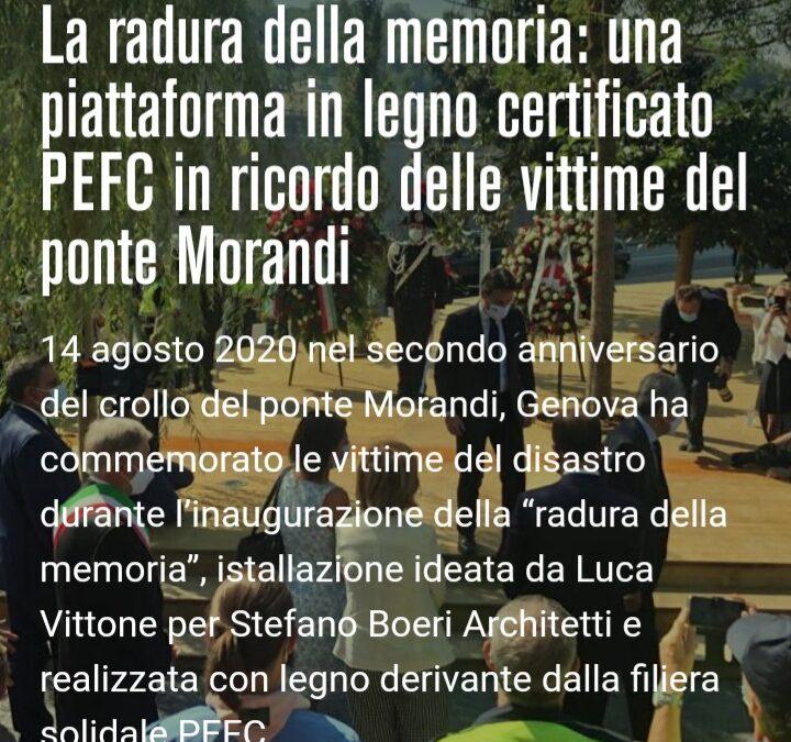 La radura della memoria: una piattaforma in legno certificato PEFC in ricordo delle vittime del ponte Morandi
